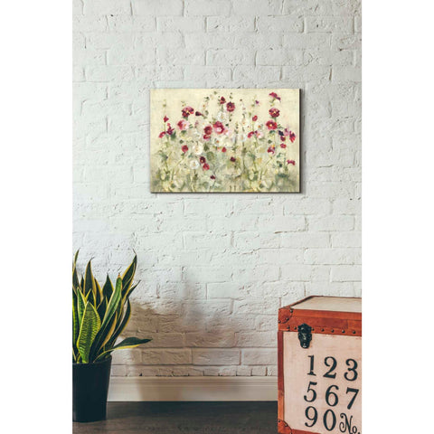 'Hollyhocks Row Cool' by Cheri Blum, Giclee Canvas Wall Art