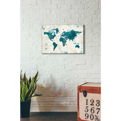 Image of 'Discover the World Blue' by Melissa Averinos, Giclee Canvas Wall Art