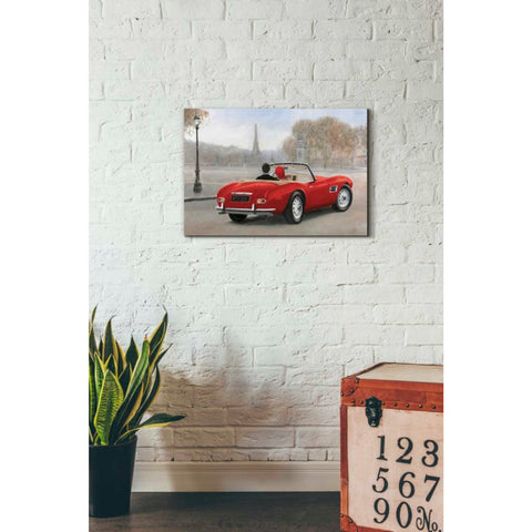 Image of 'A Ride in Paris III Red Car' by Marco Fabiano, Giclee Canvas Wall Art