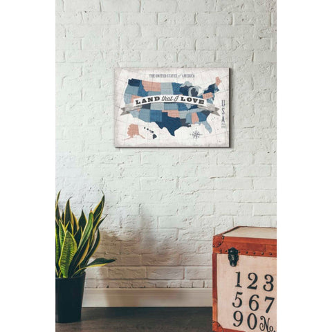 'USA Modern Vintage Blue Grey Red with Words' by Michael Mullan, Giclee Canvas Wall Art