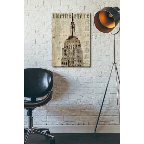 Image of 'Vintage NY Empire State Building' by Michael Mullan, Canvas Wall Art,18 x 26