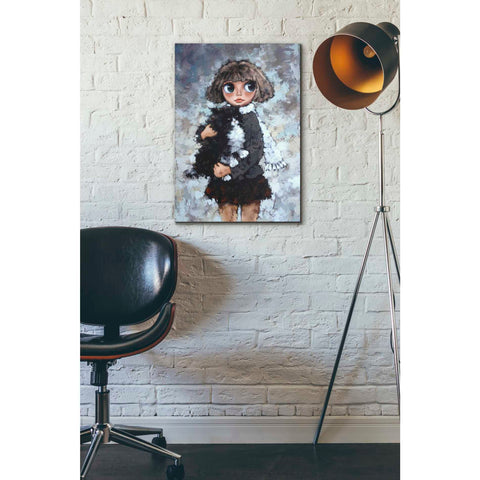 Image of 'Girl With Cat' by Alexander Gunin, Canvas Wall Art,18 x 26