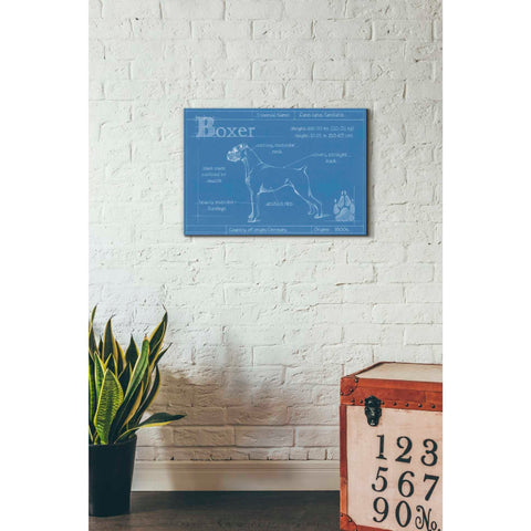 Image of 'Blueprint Boxer' by Ethan Harper Canvas Wall Art,26 x 18