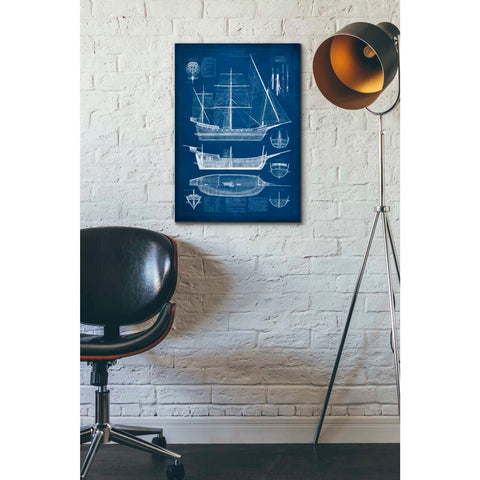 'Antique Ship Blueprint I' by Vision Studio Giclee Canvas Wall Art