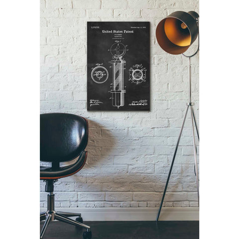 """Barber Pole Blueprint Patent Chalkboard"" Giclee Canvas Wall Art"