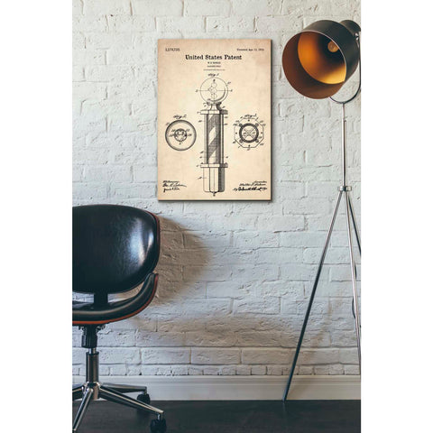 """Barber Pole Blueprint Patent Parchment"" Giclee Canvas Wall Art"