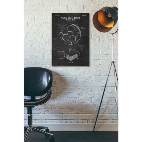 Image of 'Soccer Ball Blueprint Patent Chalkboard' Canvas Wall Art,18 x 26