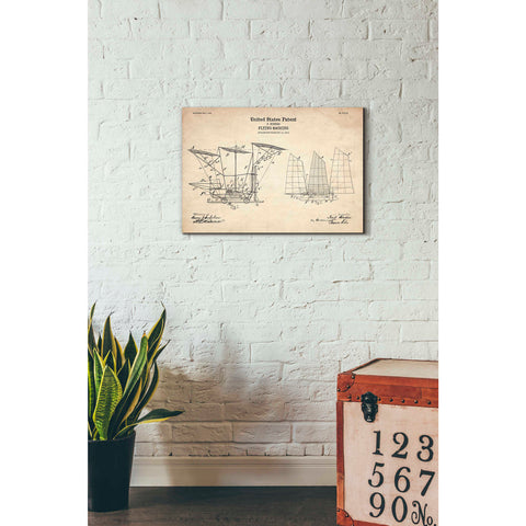"""Flying Machine, 1904 Blueprint Patent Parchment"" Giclee Canvas Wall Art"