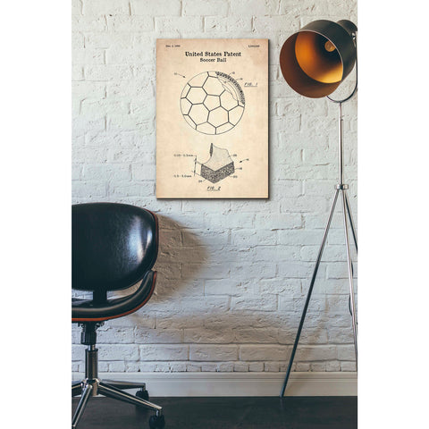 Image of 'Soccer Ball Blueprint Patent Parchment' Canvas Wall Art,18 x 26
