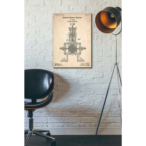 """Tesla Steam Engine Blueprint Patent Parchment"" Giclee Canvas Wall Art"