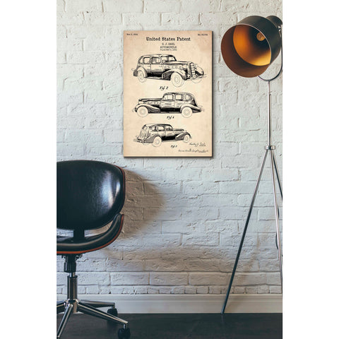 """Luxury Automobile Blueprint Patent Parchment"" Giclee Canvas Wall Art"