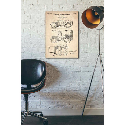 """Military Vehicle Blueprint Patent Parchment"" Giclee Canvas Wall Art"