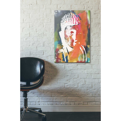 'Painted Buddha V' by Linda Woods, Canvas Wall Art,18 x 26