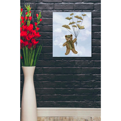 'Bear with Book Butterflies' by Fab Funky Giclee Canvas Wall Art