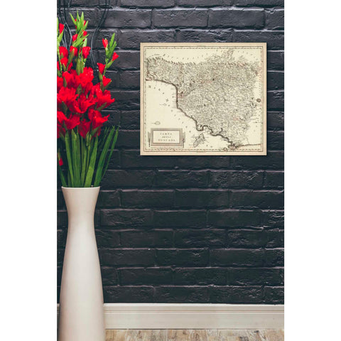 'Antique Map of Tuscany' by Unknown Giclee Canvas Wall Art
