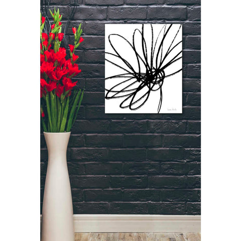 'Black Ink Flower Ii' by Linda Woods, Canvas Wall Art,20 x 24