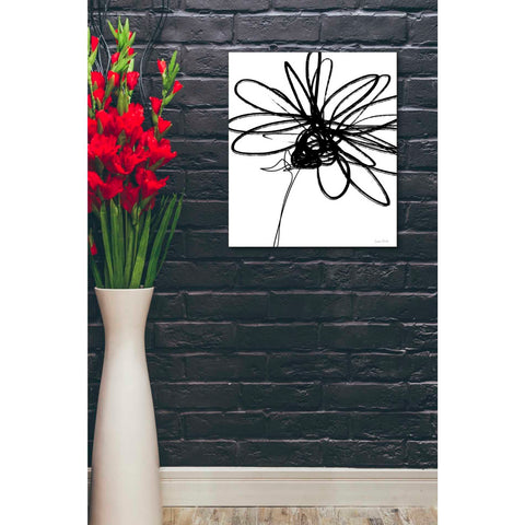 'Black Ink Flower III' by Linda Woods, Canvas Wall Art,20 x 24