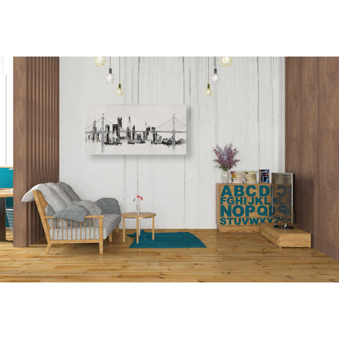 """Bridge And Skyline Silver"" by Avery Tillmon, Giclee Canvas Wall Art"