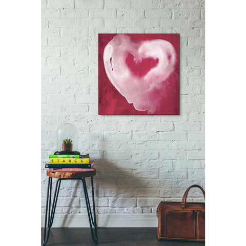'Hot Pink Heart' by Linda Woods, Canvas Wall Art,26 x 26