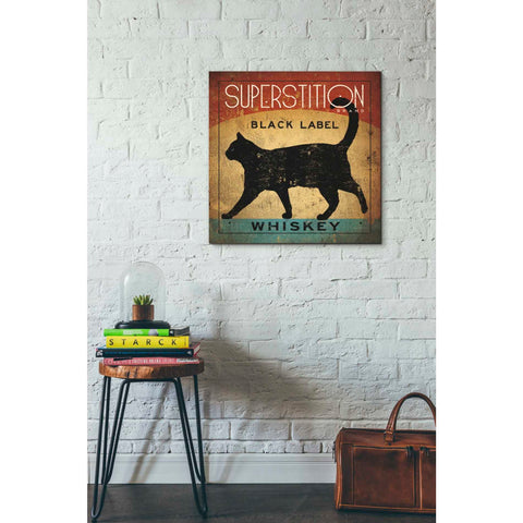 'Superstition Black Label Whiskey Cat' by Ryan Fowler, Giclee Canvas Wall Art