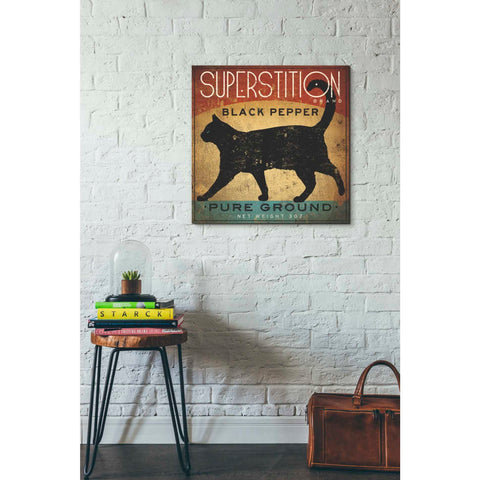'Superstition Black Pepper Cat' by Ryan Fowler, Giclee Canvas Wall Art