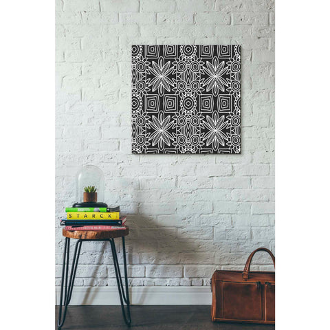 'Black And White Boho Floral' by Linda Woods, Giclee Canvas Wall Art
