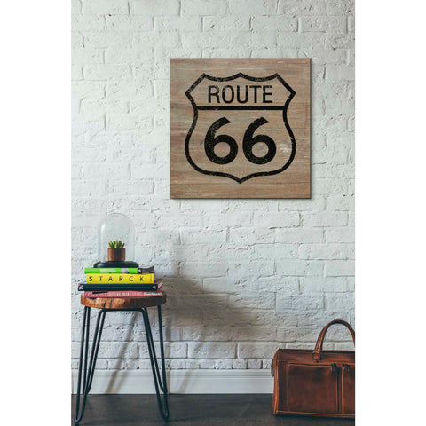 'Route 66 Black On Wood' by Linda Woods, Canvas Wall Art,26 x 26