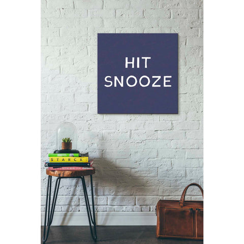 'Hit Snooze' by Linda Woods, Canvas Wall Art,26 x 26