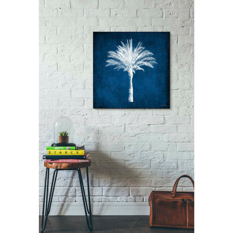 'Single Indigo And White Palm Tree' by Linda Woods, Canvas Wall Art,26 x 26