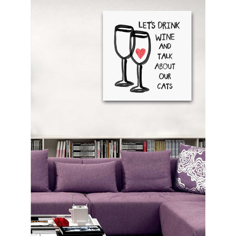 """Wine And Cats"" by Linda Woods, Giclee Canvas Wall Art"