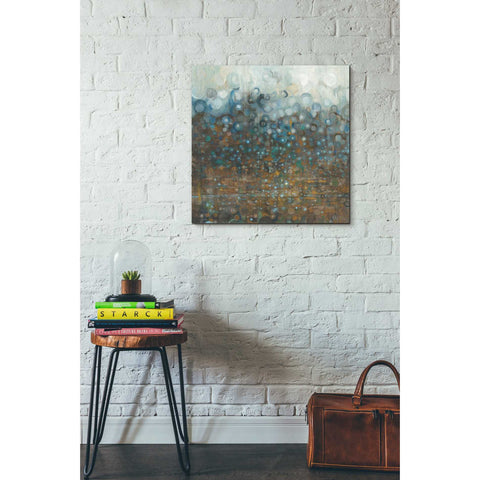 """Blue And Bronze Dots"" by Danhui Nai, Giclee Canvas Wall Art"