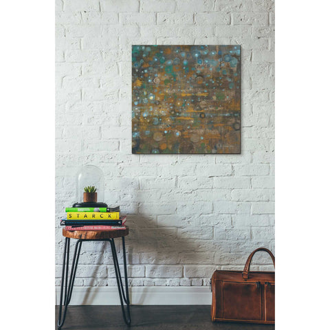 "Image of ""Blue And Bronze Dots X"" by Danhui Nai, Giclee Canvas Wall Art"