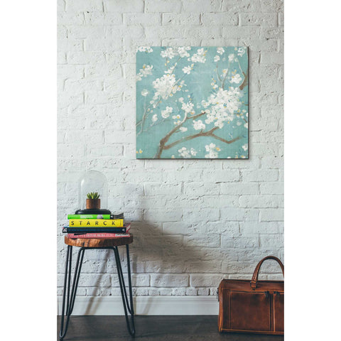 "Image of ""White Cherry Blossom I on Blue"" by Danhui Nai, Giclee Canvas Wall Art"