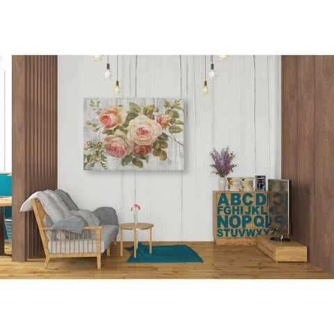 Image of 'Vintage Roses on Driftwood' Canvas Wall Art,,26 x 34