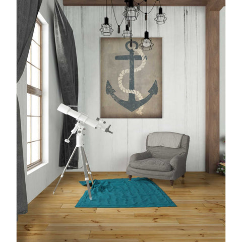 'Nautical Anchor Vertical Gray' by Ryan Fowler, Giclee Canvas Wall Art