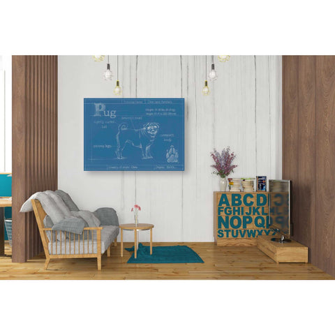 Image of 'Blueprint Pug' by Ethan Harper Canvas Wall Art,34 x 26