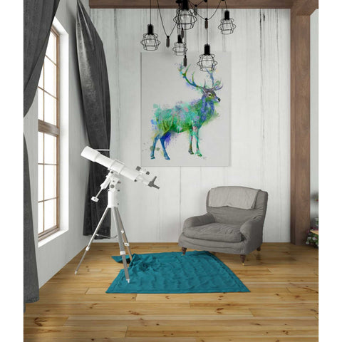'Deer 1 Rainbow Splash Green Blue' by Fab Funky Canvas Wall Art,26 x 34