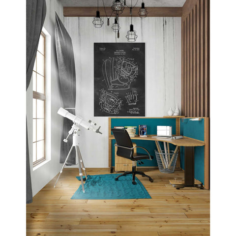 'Baseball Glove Blueprint Patent Chalkboard' Canvas Wall Art,26 x 40