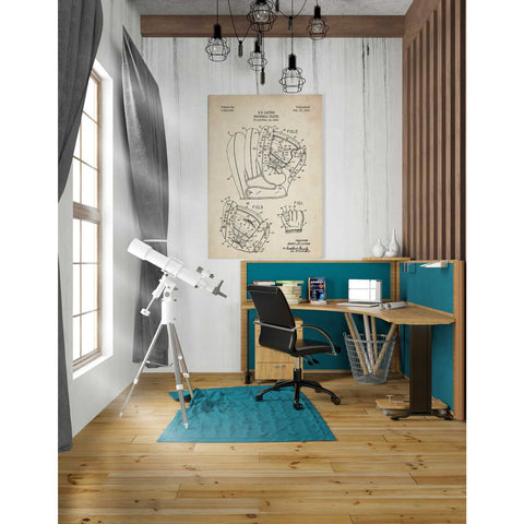 'Baseball Glove Blueprint Patent Parchment' Canvas Wall Art,26 x 40