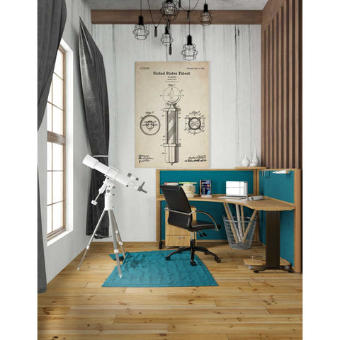 "Image of ""Barber Pole Blueprint Patent Parchment"" Giclee Canvas Wall Art"