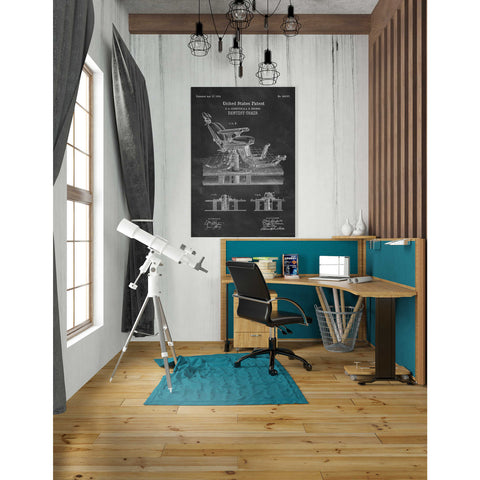 """Dentist Chair Blueprint Patent Chalkboard"" Giclee Canvas Wall Art"