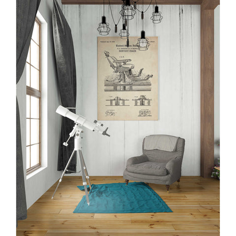 "Image of ""Dentist Chair Blueprint Patent Parchment"" Giclee Canvas Wall Art"