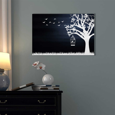 """Wood Series: Birds and Tree, Inverted Silhouettes"" Giclee Canvas Wall Art"