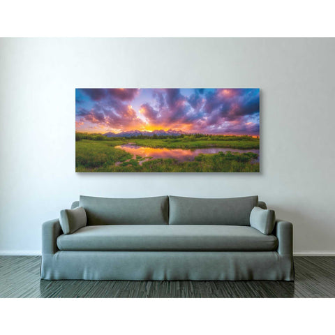 'Grand Sunset in the Tetons' by Darren White, Canvas Wall Art,30 x 60