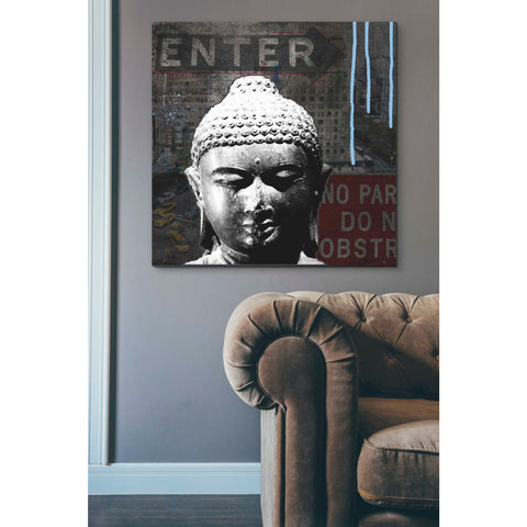 'Urban Buddha IV' by Linda Woods, Canvas Wall Art,37 x 37