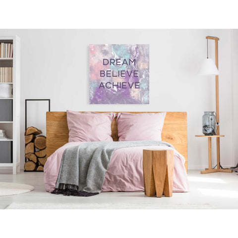 'Dream, Believe, Achieve' by Linda Woods, Canvas Wall Art,37 x 37