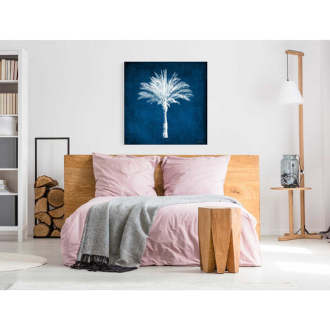 'Single Indigo And White Palm Tree' by Linda Woods, Canvas Wall Art,37 x 37