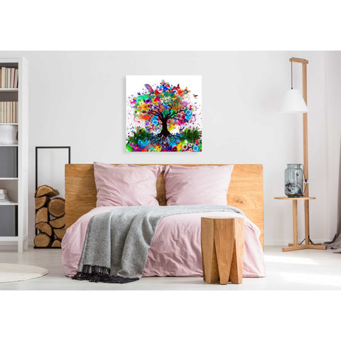 Image of 'Kaleidoscope Tree White' Giclee Canvas Wall Art