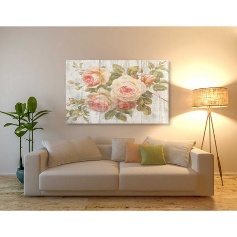 Image of 'Vintage Roses on Driftwood' Giclee Canvas Wall Art,