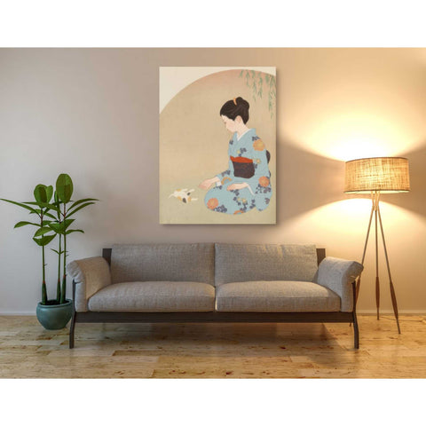 'Cat And Woman' by Sai Tamiya, Giclee Canvas Wall Art